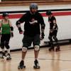 Roller Skaters working hard